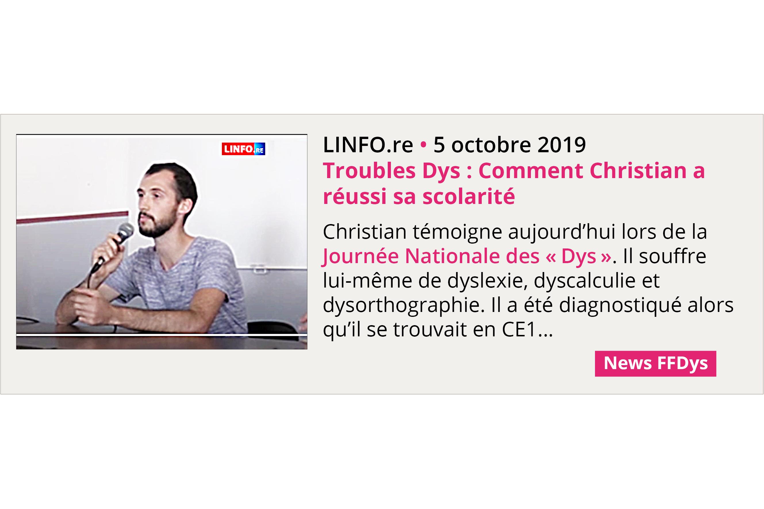 Troubles Dys : Comment Christian a réussi sa scolarité - LINFO.re