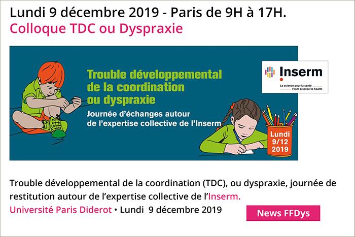 Colloque TDC ou Dyspraxie - Paris - 9 décembre 2019