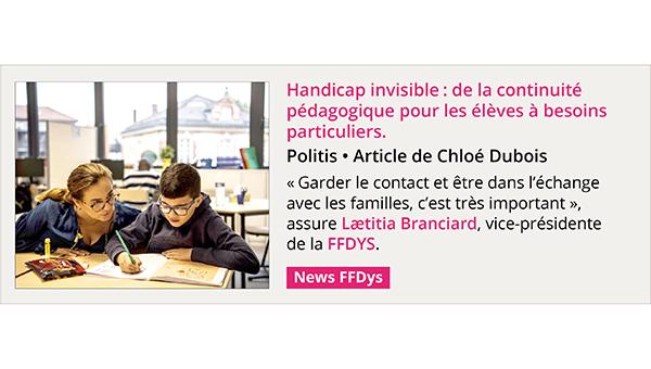 Handicap invisible: de la continuité pédagogique pour les élèves à besoins particuliers - Politis