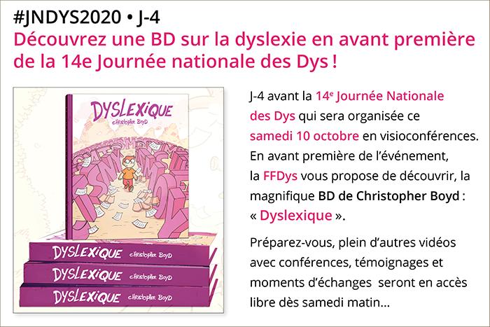 #JNDys2020 • J-4 Découvrez une BD sur la dyslexie en avant première de la 14e Journée nationale des Dys!