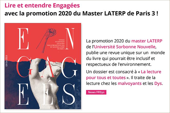 Lire et entendre Engagées avec la promotion 2020 du Master LATERP de Paris 3 !